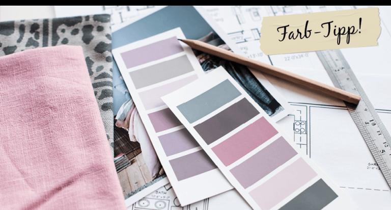 Farbfächer, Stoff, Stift, Lineal und Grundriss