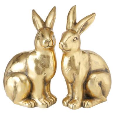 Zwei Hasen in Gold