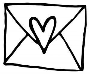 Zeichnung Briefumschlag mit Herz