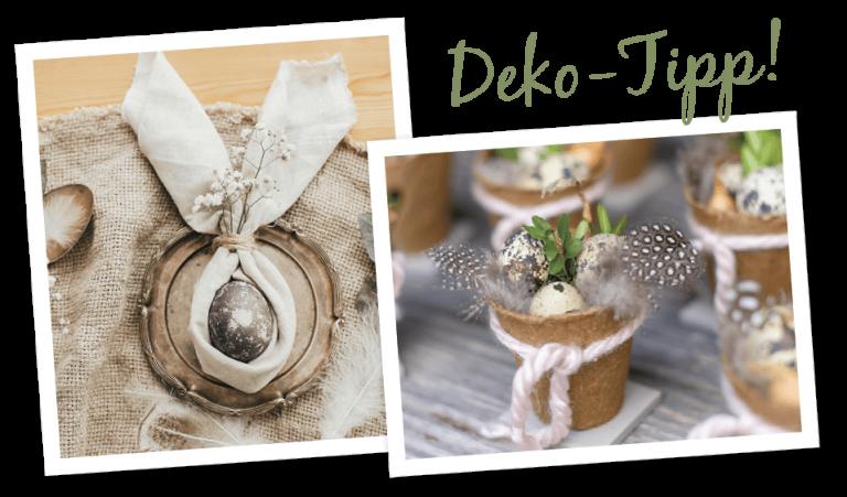 Oster-Deko, natürlich gefärbtes Osterei mit einer gebundenen Serviette als Hasenohren, kleine Wachteleier und Perlhuhnfedern, hübsch in einem kleinen Teelichtglas arrangiert