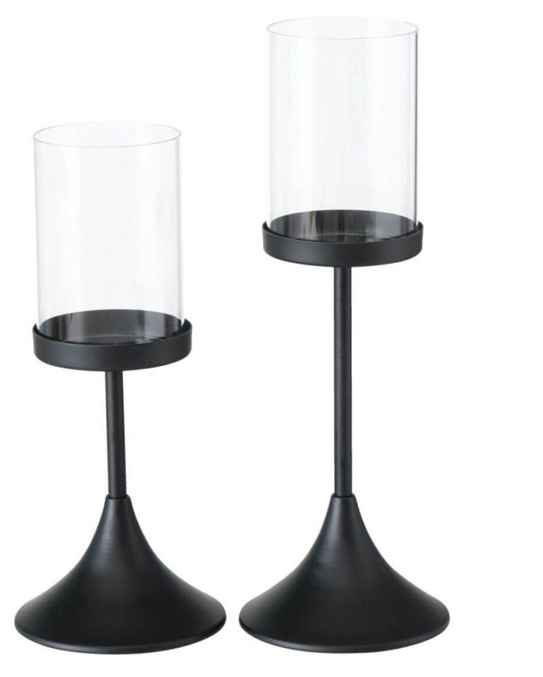 Kerzenhalter in zwei Größen mit schwarzem Fuß und Glas oben drauf