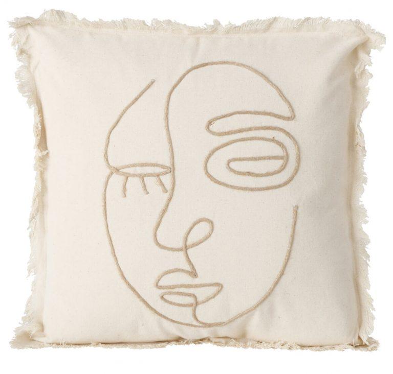 Kissen mit Gesicht gezeichnet nach Art von Picasso