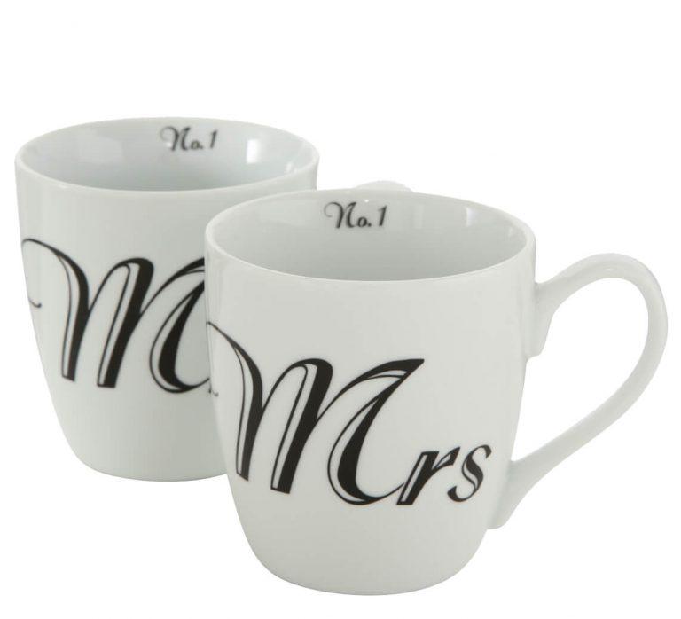 Tasse mit Beschriftung Mr. und Mrs.