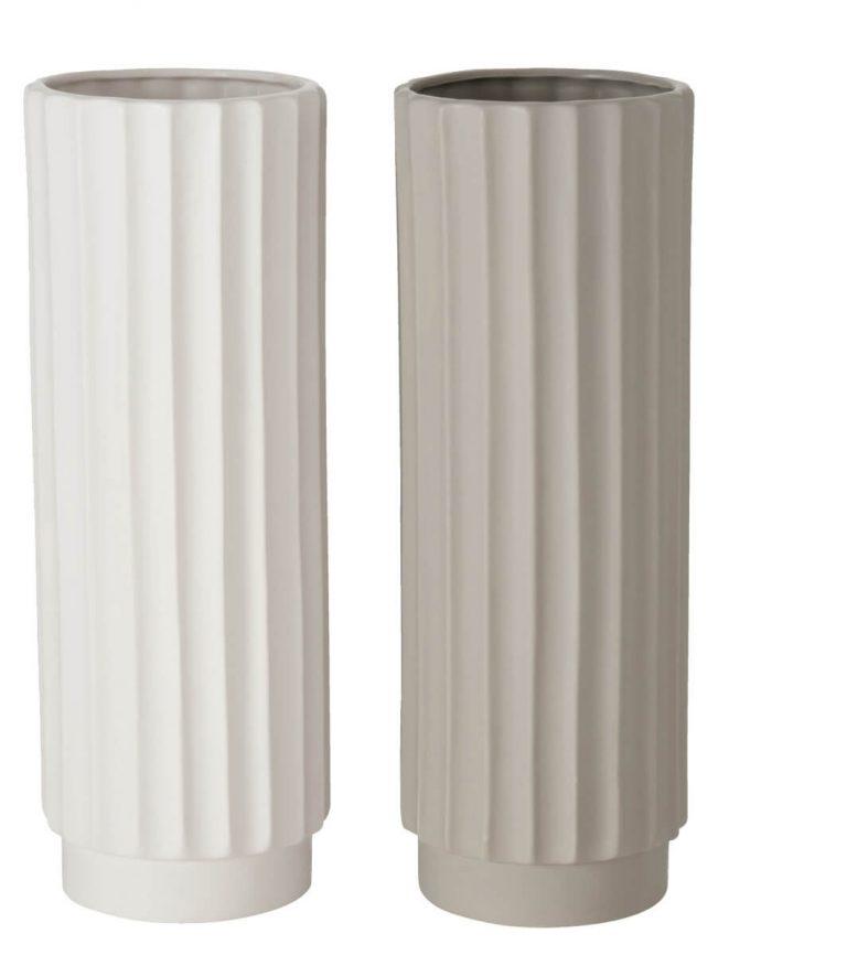 Vase in Weiß und in Beige