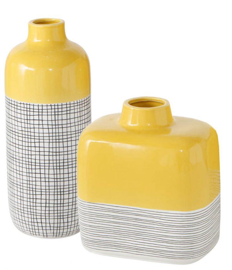 Vasen gelb-weiß