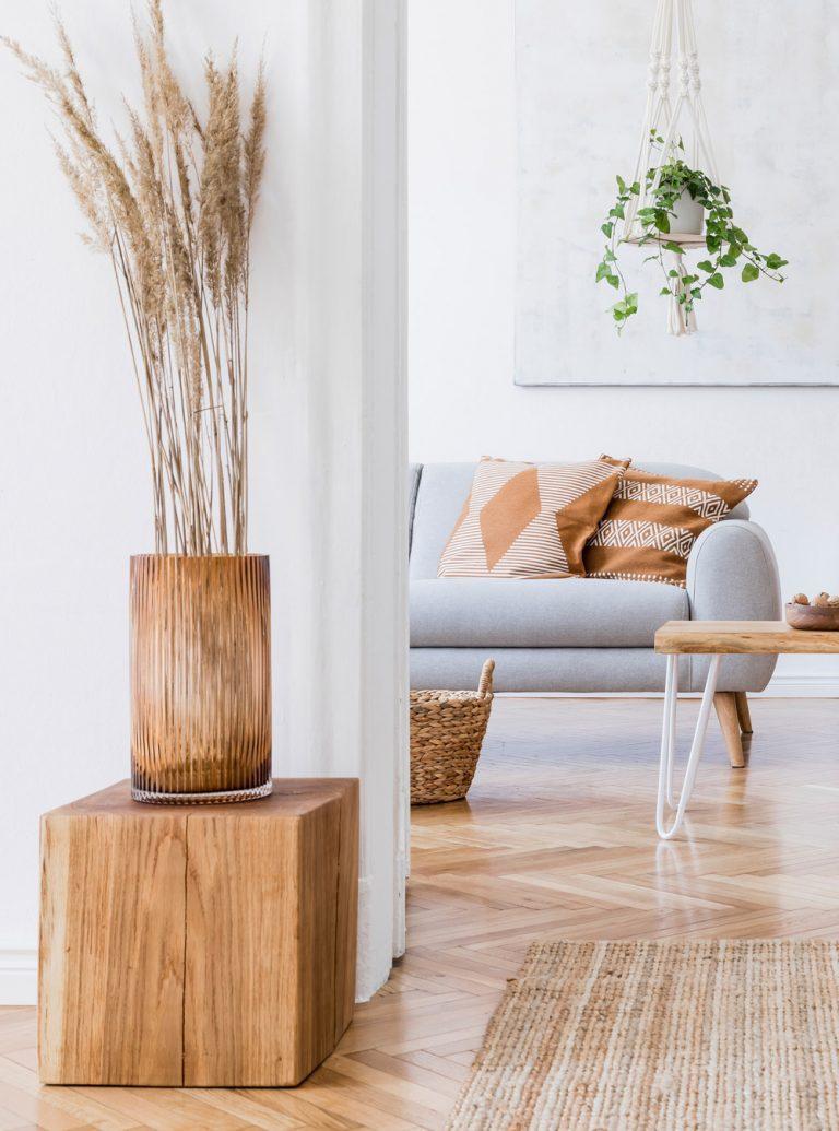 hellblaues Sofa in hellem Wohnraum mit Dekogras