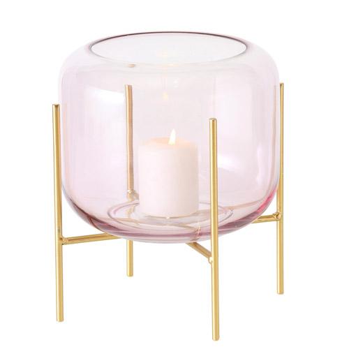 Kerzenhalter in rosafarbenem Glas mit goldenem Gestell