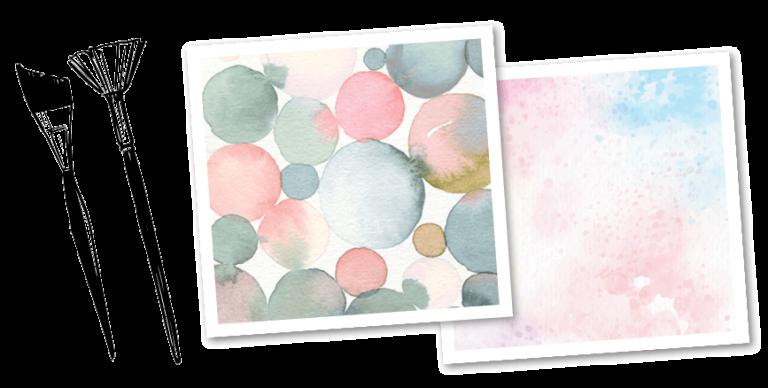 Zeichnung von 2 Pinseln und zwei Bilder in Pastelltönen