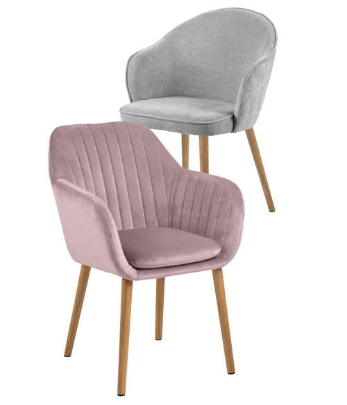 Sessel, Stühle in Rosé und Grau