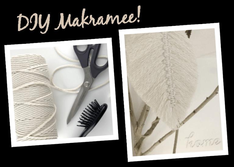 DIY Makramee, Garn, Schere, Bürste und Makramee-Feder