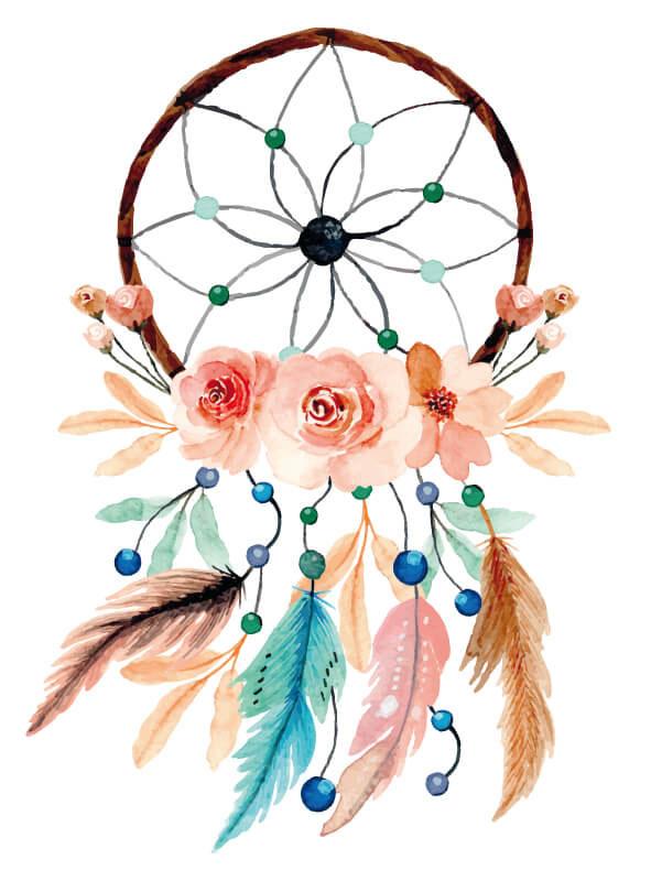 Mit Aquarelle gemalter Traumfänger