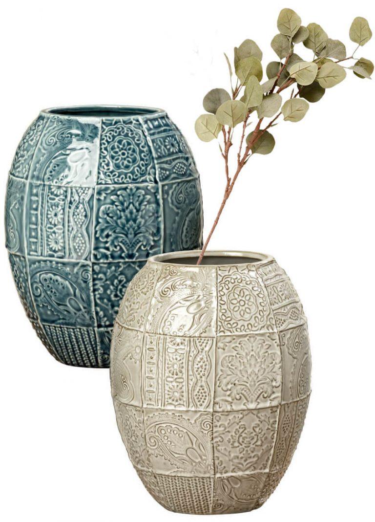 Patchwork Vasen in Beige und Grünblau