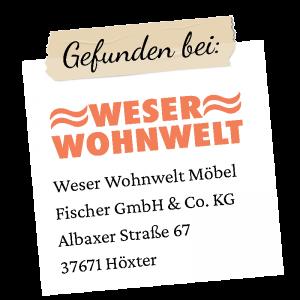 Weser Wohnwelt Logo mit Adresse