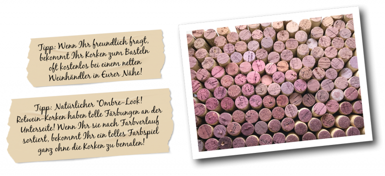 Klebestreifen mit Text und Bild von Korken