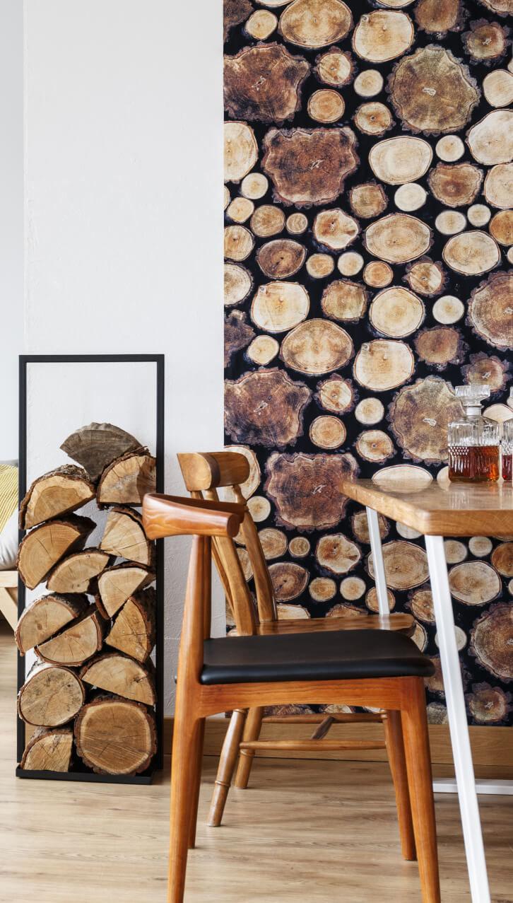 Gestapeltes Holz und Tapete mit gestapeltem Holz