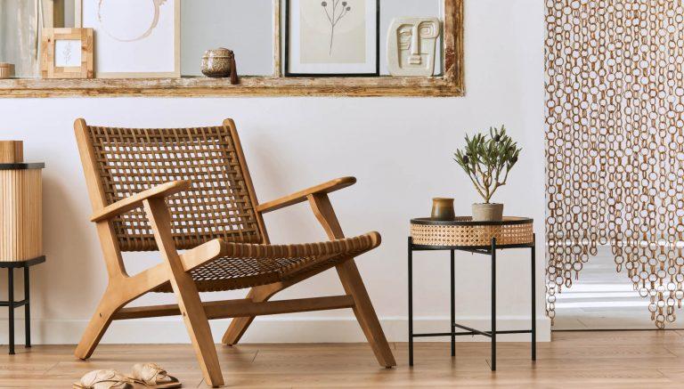 Geflecht Sessel aus Holz