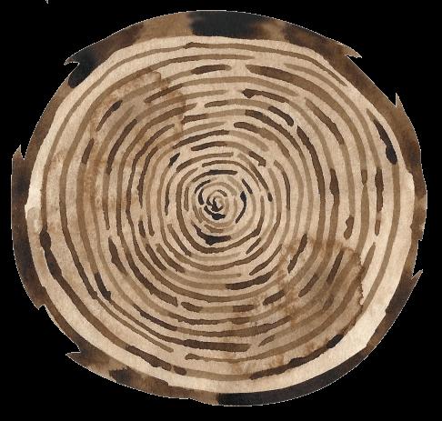 Holzscheibe aus Aquarell