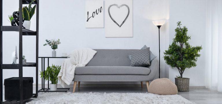 Modernes Wohnzimmer in Grautönen