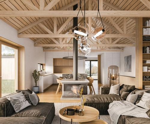 Wohnraum mit offenen Dachbalken