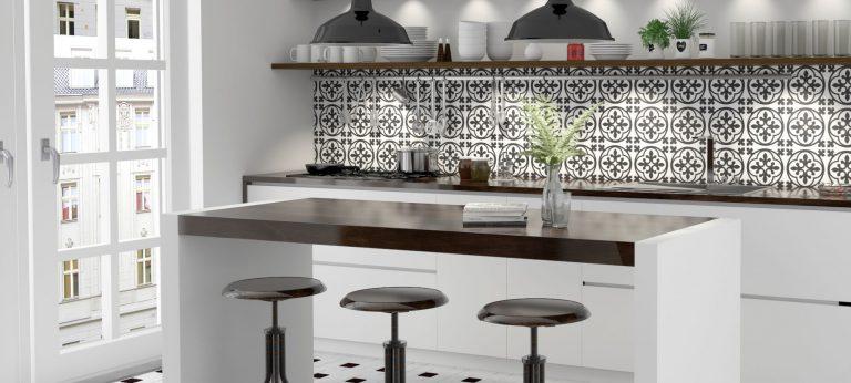 Schwarz-weiße Retro Küche